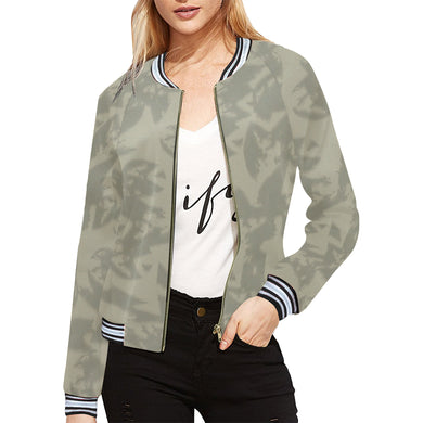 Eagle Taupe Gray All Over Print Bomber Jacket for Women (Model H21)