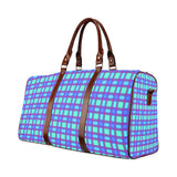 Bluish Plaid Waterproof Travel Bag/Small (Model 1639)