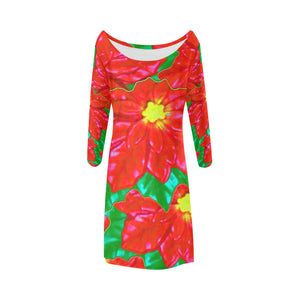 Red Orange Poinsettias Bateau A-Line Skirt (D21)