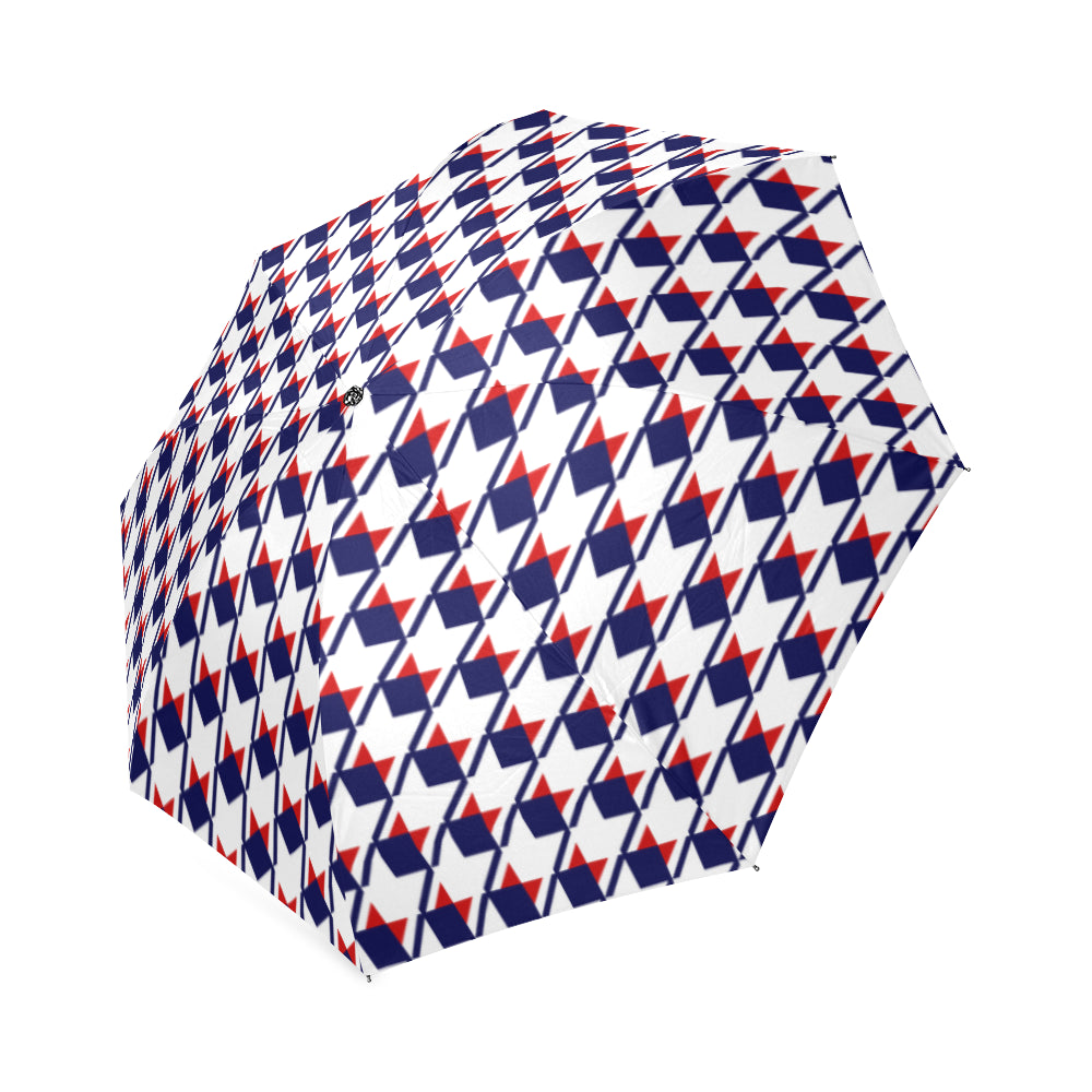 Red White Blue Houndstooth Foldable Umbrella