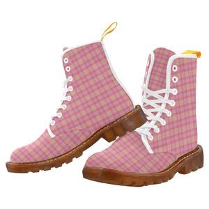 Pink Purple Plaid Martin Boots For Women Model 1203H