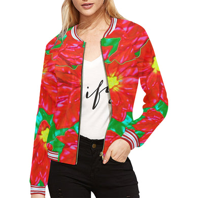 Red Orange Poinsettias All Over Print Bomber Jacket for Women (Model H21)