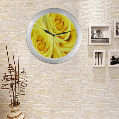 Candlelight Roses Silver Color Wall Clock