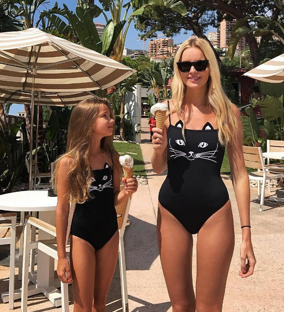 Mother Daughter 3D Black Cat Bikini Monokini One-Piece Family Matching Swimsuit