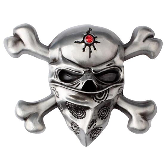 Double Bone Ghost Head Belt Buckle