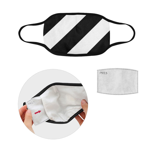 Black White Stripes Mouth Mask in One Piece (2 Filters Included) (Model M02)