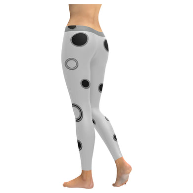 Black Polka Dots Low Rise Leggings (Invisible Stitch) (Model L05)