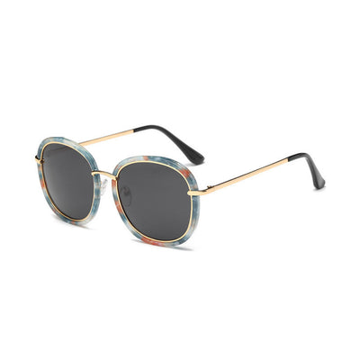 Blanche Michelle Square Polarized Women Designer UV400 Gold Frame Mirror Sunglasses