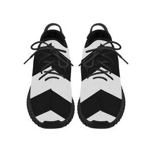 Black White Stripes Grus Women's Breathable Woven Running Shoes (Model 022)