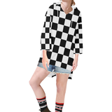 Black White Checkers Step Hem Tunic Hoodie for Women (Model H25)