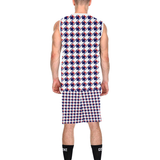 Red White Blue Houndstooth All Over Print Basketball Uniform