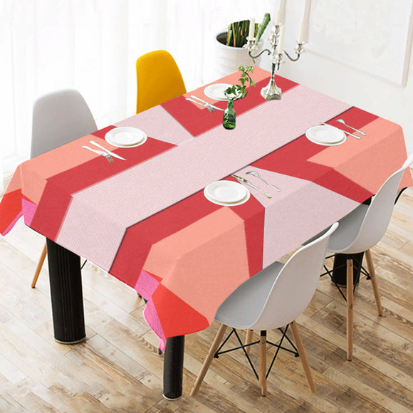 Shades of Red Patchwork Cotton Linen Tablecloth 52