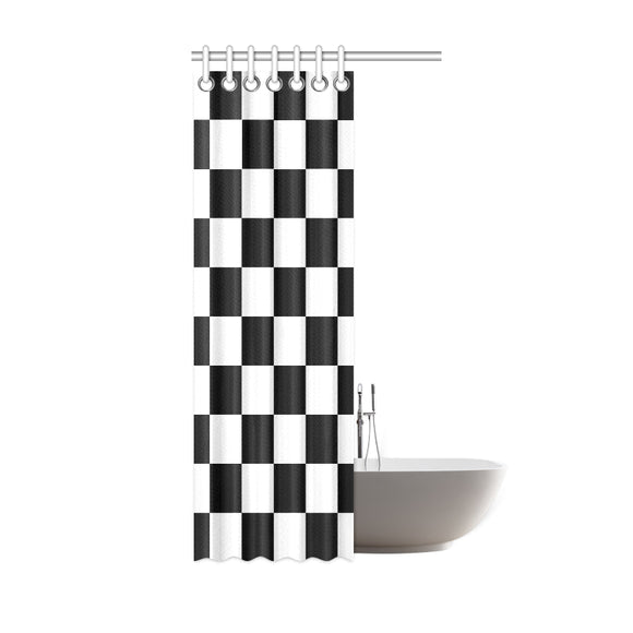 Black White Checkers Shower Curtain 36