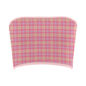 Pink Purple Plaid Bandeau Top