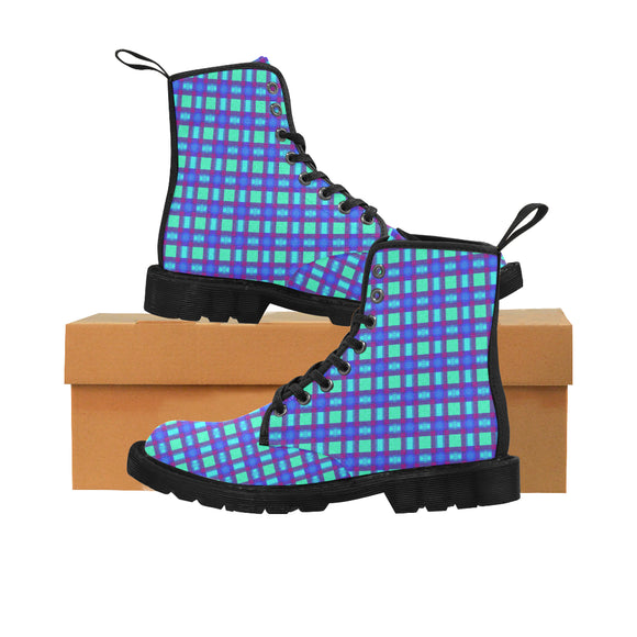 Bluish Plaid Martin Boots for Women (Black) (Model 1203H)