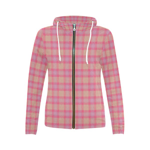 Pink Purple Plaid All Over Print Full Zip Hoodie for Women (Model H14)