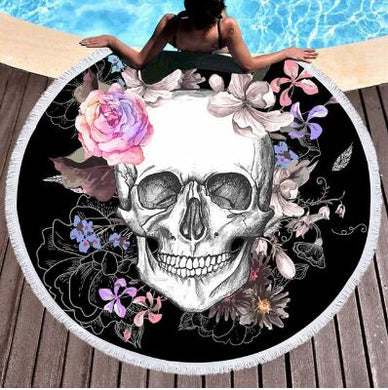 Women Big Bath Thick Round 3d Sugar Skull Printed Beach Towel Fabric Quick Tapestry Mat