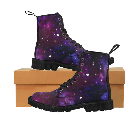 Midnight Blue Purple Galaxy Martin Boots for Women (Black) (Model 1203H)