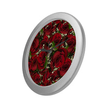 Load image into Gallery viewer, Carmine Roses Silver Color Wall Clock