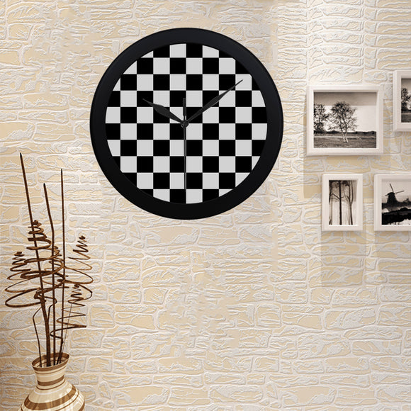 Black White Checkers Circular Plastic Wall clock