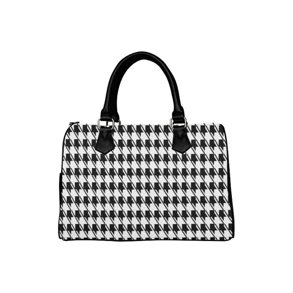 Black White Houndstooth Boston Handbag (Model 1621)