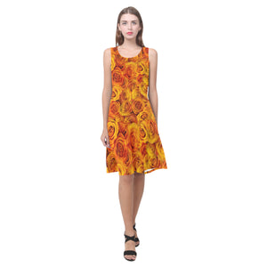 Grenadier Tangerine Roses Sleeveless Splicing Shift Dress(Model D17)