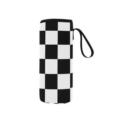 Black White Checkers Neoprene Water Bottle Pouch/Small