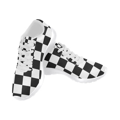 Black White Checker Women's Running Shoes/Large Size (Model 020)