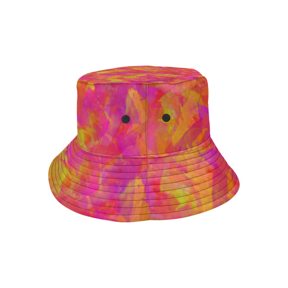 Yellow Red Damask All Over Print Bucket Hat