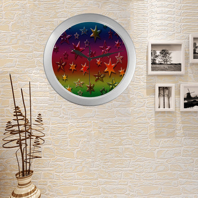 Rainbow Stars Silver Color Wall Clock