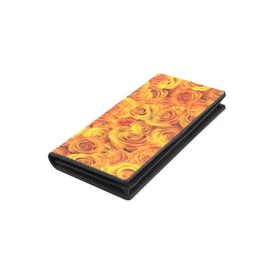 Grenadier Tangerine Roses Women's Leather Wallet (Model 1611)