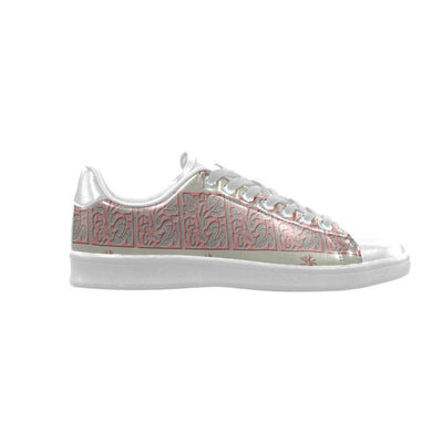 Cheery Coral Pink Scorpius Low Top Men's Sneakers (Model 023)