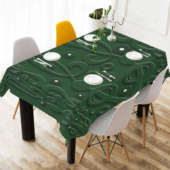 Dark Fern Cotton Linen Tablecloth 52