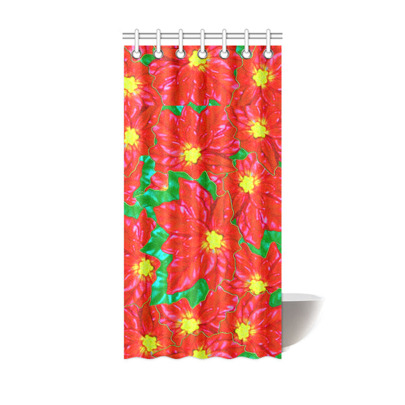 Red Orange Poinsettias Shower Curtain 36