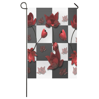 Burnt Crimson Flora Garden Flag 28''x40'' (Without Flagpole)
