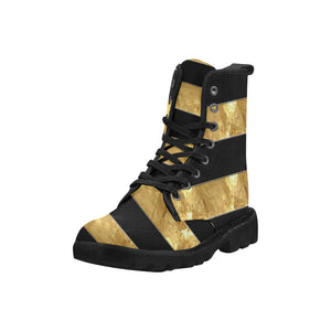 Black Gold Stripes Martin Boots for Women (Black) (Model 1203H)