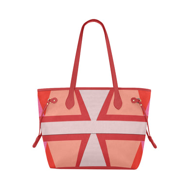 Shades of Red Patchwork Clover Canvas Tote Bag (Model 1661)