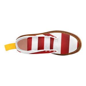 Red White Stripes Martin Boots For Women Model 1203H