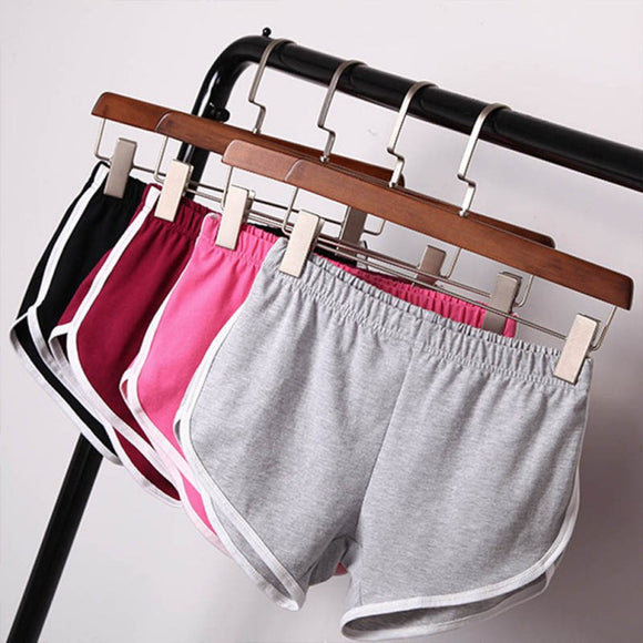 Women Solid Color White Side Stripe Workout Waistband Mini Skinny Shorts