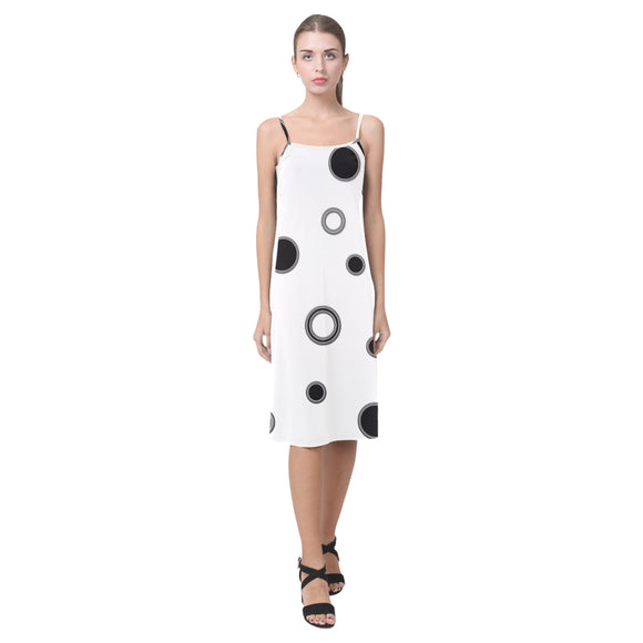 Black Polka Dots Alcestis Slip Dress (Model D05)