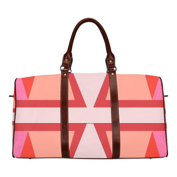 Shades of Red Patchwork Waterproof Travel Bag/Small (Model 1639)
