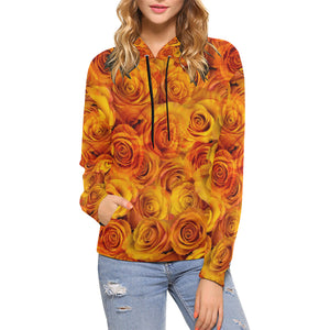 Grenadier Tangerine Roses Women's All Over Print Hoodie (USA Size) (Model H13)