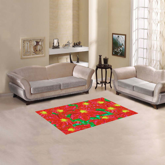 Red Orange Poinsettias Area Rug 2'7