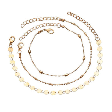 GUVIVI Round Beaded Bohemian Anklet Women Gold Layers Leaf Barefoot Sandals Jewelry Gift