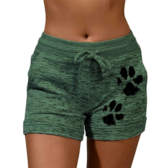 Fast Drying Drawstring Paw Print Lace Up High Waist Elastic Cotton Women Short