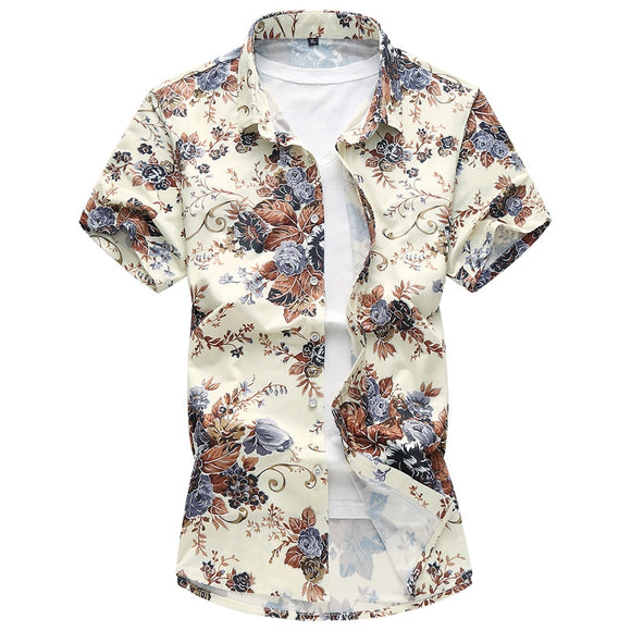 Men High Quality Silk Cotton Printed Shirt Short Sleeve Slim Size M-7XL
