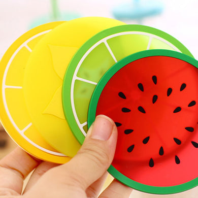 10PCS Coaster Fruit Shape Silicone Cup Pad Slip Insulation Mat Drink Holder