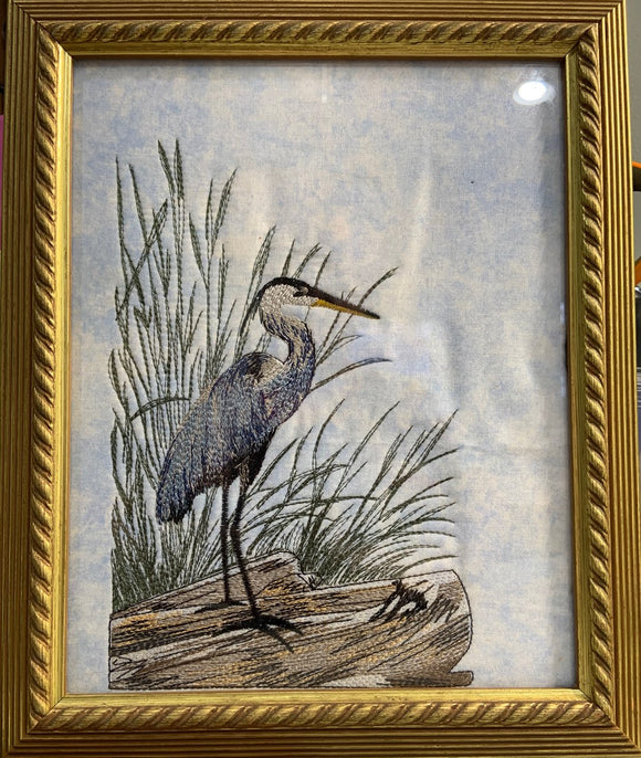 Blue Heron Embroidery Art Framed