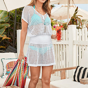 SunForYou Knitted Beach Sarong Tunic Hollow Out Swimwear Cover up Pareo Bathing Suit