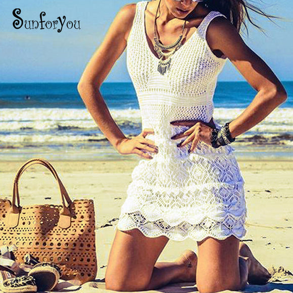 SunForYou Crochet Knitted Tunic Beach Pareos Bikini Swimuit Cover up Sarong